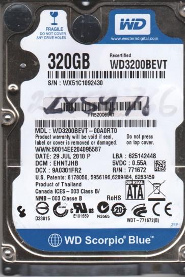 WD3200BEVT-00A0RT0, DCM EHNTJHB, Western Digital 320GB SATA 2.5 BSectr HDD