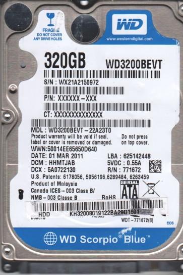 WD3200BEVT-22A23T0, DCM HHMTJAB, Western Digital 320GB SATA 2.5 BSectr HDD