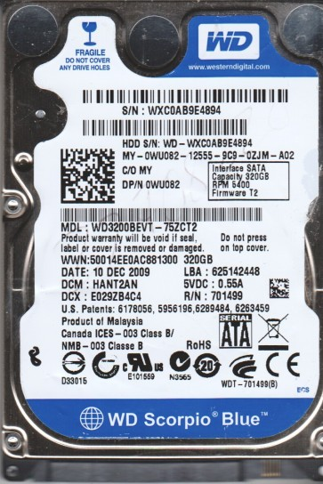 WD3200BEVT-75ZCT2, DCM HANT2AN, Western Digital 320GB SATA 2.5 BSectr HDD