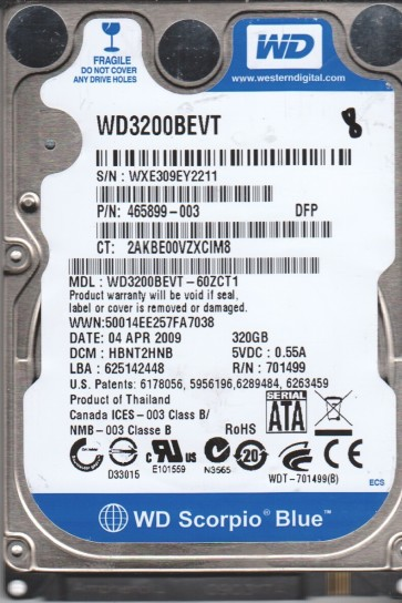 WD3200BEVT-60ZCT1, DCM HBNT2HNB, Western Digital 320GB SATA 2.5 BSectr HDD