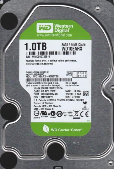 WD10EARX-00N0YB0, DCM HHNNHT2MAB, Western Digital 1TB SATA 3.5 Hard Drive