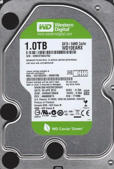 WD10EARX-00N0YB0, DCM HHRNHT2MAB, Western Digital 1TB SATA 3.5 Hard Drive