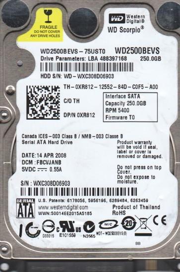 WD2500BEVS-75UST0, DCM FBCVJANB, Western Digital 250GB SATA 2.5 Hard Drive