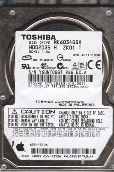 MK6034GSX, A0/AH105B, HDD2D35 H ZK01 T, Toshiba 60GB SATA 2.5 Hard Drive
