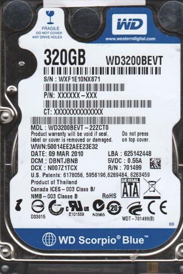 WD3200BEVT-22ZCT0, DCM DBNTJBNB, Western Digital 320GB SATA 2.5 BSectr HDD