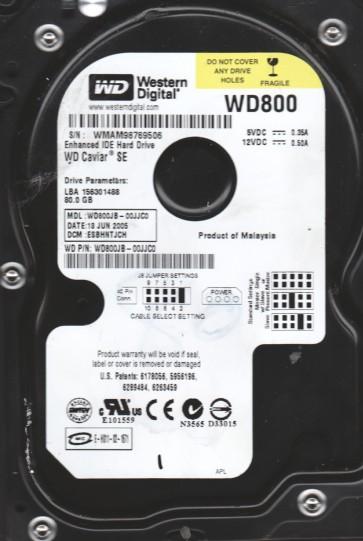 WD800JB-00JJC0, DCM ESBHNTJCH, Western Digital 80GB IDE 3.5 Hard Drive