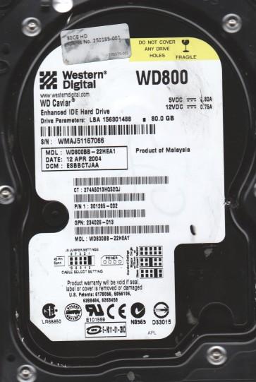 WD800BB-22HEA1, DCM ESBBCTJAA, Western Digital 80GB IDE 3.5 Hard Drive
