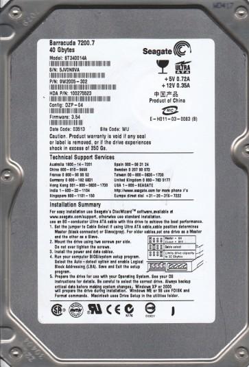 ST340014A, 5JV, WU, PN 9W2005-302, FW 3.54, Seagate 40GB IDE 3.5 Hard Drive
