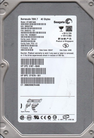 ST340014AS, 3MQ, AMK, PN 9W2015-131, FW 3.40, Seagate 40GB SATA 3.5 Hard Drive