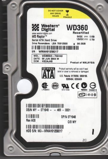 WD360GD-75GHA0, DCM HBCAJAB, Western Digital 36.7GB SATA 3.5 Hard Drive