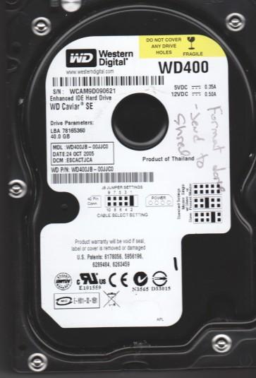 WD400JB-00JJC0, DCM ESCACTJCA, Western Digital 40GB IDE 3.5 Hard Drive