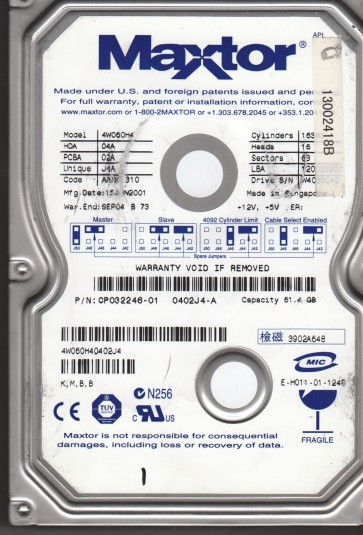 4W060H4, Code AAH41310, KMBB, Maxtor 60GB IDE 3.5 Hard Drive