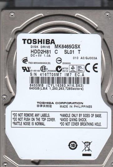 MK6465GSX, A0/GJ003A, HDD2H81 C SL01 T, Toshiba 640GB SATA 2.5 Hard Drive