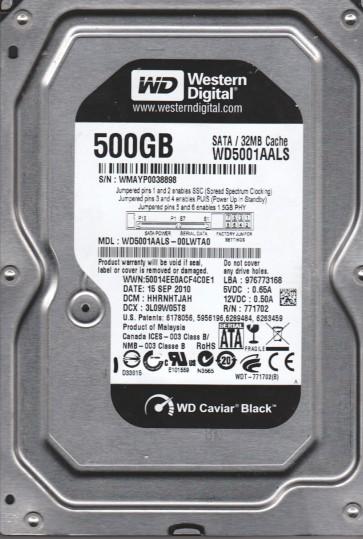 WD5001AALS-00LWTA0, DCM HHRNHTJAH, Western Digital 500GB SATA 3.5 Hard Drive