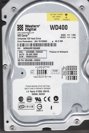 WD400BB-00DKA0, DCM HSBACVJAH, Western Digital 40GB IDE 3.5 Hard Drive