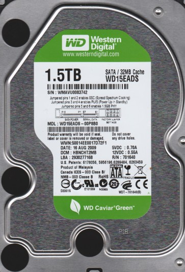 WD15EADS-00P8B0, DCM HBNCHT2MB, Western Digital 1.5TB SATA 3.5 Hard Drive