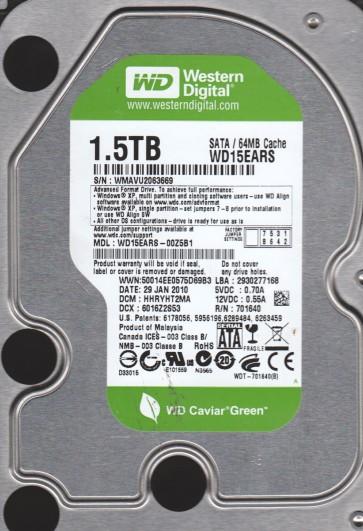 WD15EARS-00Z5B1, DCM HHRYHT2MA, Western Digital 1.5TB SATA 3.5 Hard Drive