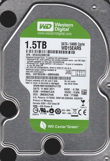 WD15EARS-00MVWB0, DCM HHRNHTJCH, Western Digital 1.5TB SATA 3.5 Hard Drive