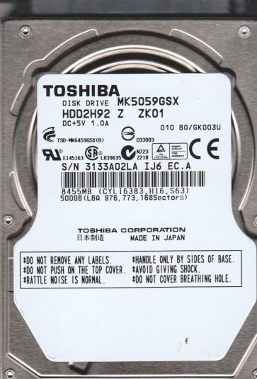 MK5059GSX, B0/GK003U, HDD2H92 Z ZK01, Toshiba 500GB SATA 2.5 Hard Drive