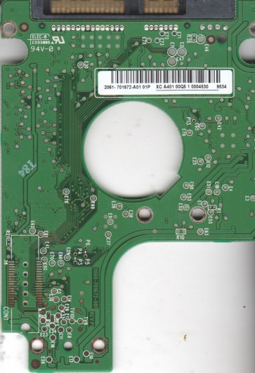 WD7500KEVT-00A28T0, 2061-701672-A01 01P, WD SATA 2.5 PCB