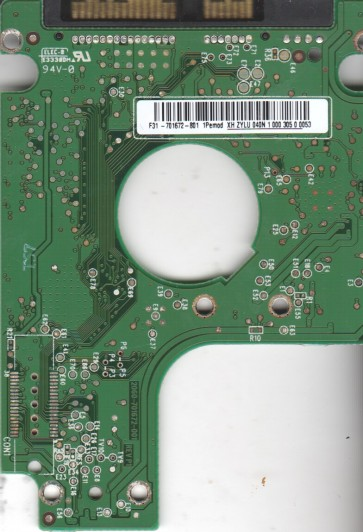 WD2500BEVT-00A23T0, 2061-701672-801 1Pemod, WD SATA 2.5 PCB