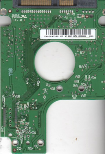 WD7500KEVT-00A28T0, 2061-701672-A01 02P, WD SATA 2.5 PCB