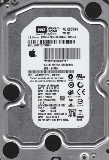 WD1002FBYS-43P1B0, DCM HBNNHV2CB, Western Digital 1TB SATA 3.5 Hard Drive