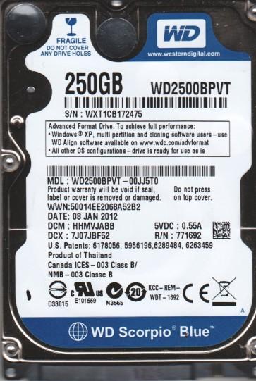 WD2500BPVT-00JJ5T0, DCM HHMVJABB, Western Digital 250GB SATA 2.5 Hard Drive