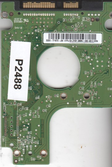 WD5000BEVT-60A0RT0, 2061-771672-J04 01Pa, WD SATA 2.5 PCB
