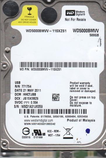 WD5000BMVV-11SXZS1, DCM HHCTJBB, Western Digital 500GB USB 2.5 Hard Drive