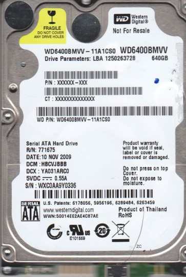 WD6400BMVV-11A1CS0, DCM HBCVJBBB, Western Digital 640GB USB 2.5 Hard Drive