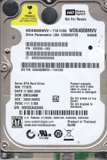 WD6400BMVV-11A1CS0, DCM EBCVJHBB, Western Digital 640GB USB 2.5 Hard Drive