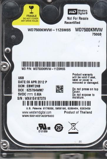 WD7500KMVW-11ZSMS5, DCM EBMT2HB, Western Digital 750GB USB 2.5 Hard Drive