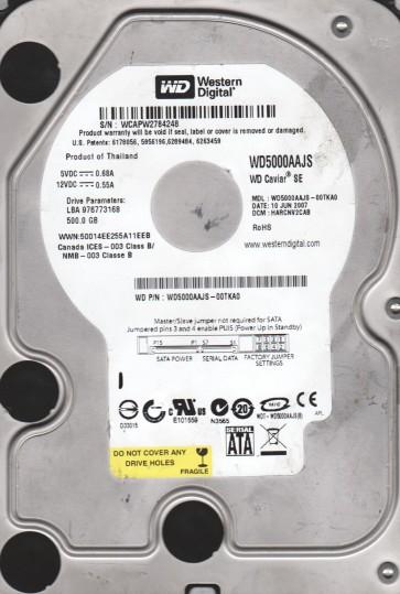WD5000AAJS-00TKA0, DCM HARCNV2CAB, Western Digital 500GB SATA 3.5 Hard Drive