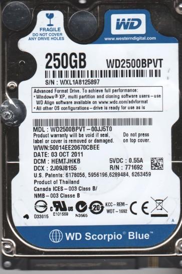 WD2500BPVT-00JJ5T0, DCM HEMTJHKB, Western Digital 250GB SATA 2.5 Hard Drive