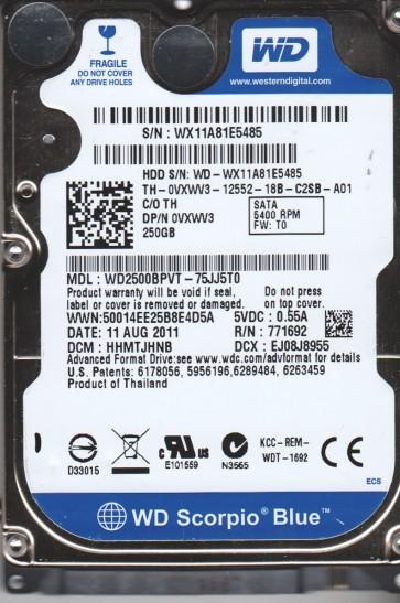 WD2500BPVT-75JJ5T0, DCM HHMTJHNB, Western Digital 250GB SATA 2.5 Hard Drive