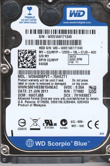 WD6400BPVT-75HXZT1, DCM HAOTJBB, Western Digital 640GB SATA 2.5 Hard Drive