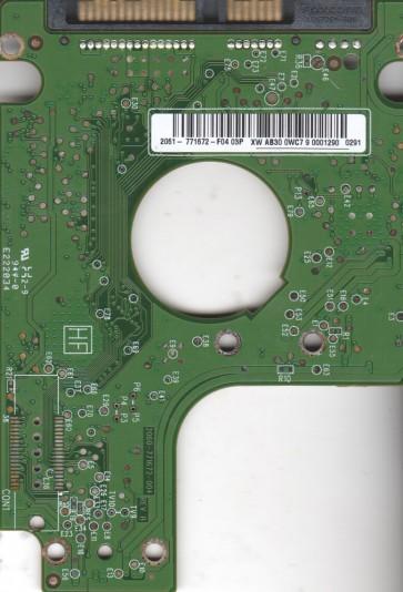 WD1600BEVT-75A23T0, 2061-771672-F04 03P, WD SATA 2.5 PCB