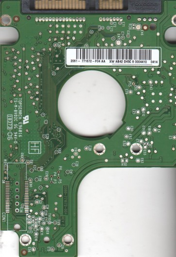 WD2500BEVT-60A23T0, 2061-771672-F04 AA, WD SATA 2.5 PCB