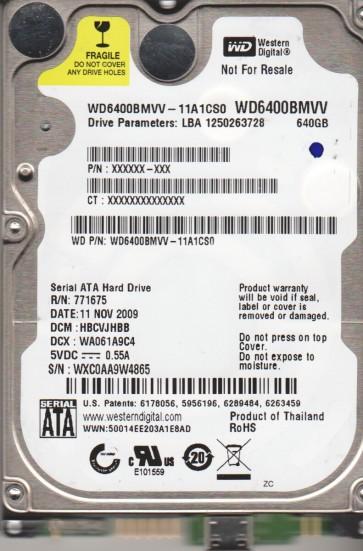 WD6400BMVV-11A1CS0, DCM HBCVJHBB, Western Digital 640GB USB 2.5 Hard Drive