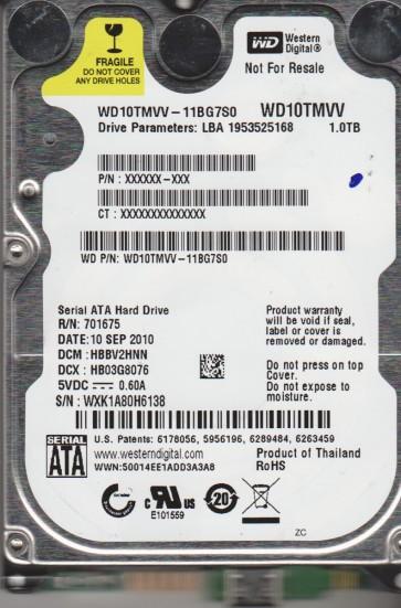 WD10TMVV-11BG7S0, DCM HBBV2HNN, Western Digital 1TB USB 2.5 Hard Drive