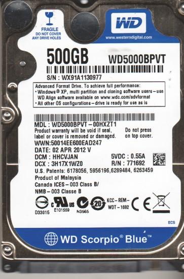 WD5000BPVT-00HXZT1, DCM HHCVJAN, Western Digital 500GB SATA 2.5 Hard Drive