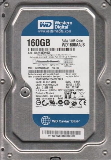 WD1600AAJS-22L7A0, DCM HGRNHTJAGN, Western Digital 160GB SATA 3.5 Hard Drive