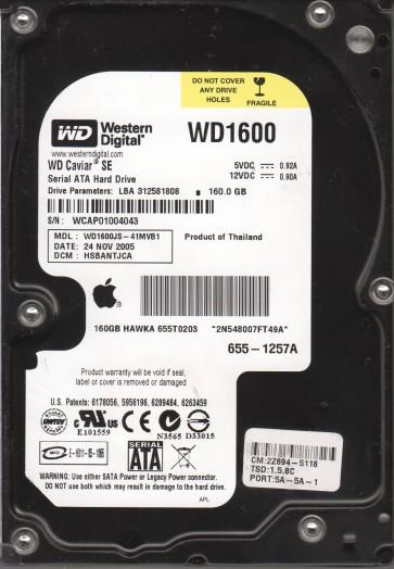 WD1600JS-41MVB1, DCM HSBANTJCA, Western Digital 160GB SATA 3.5 Hard Drive