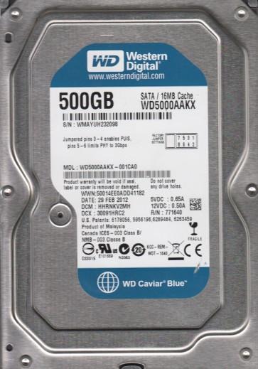 WD5000AAKX-001CA0, DCM HHRNKV2MH, Western Digital 500GB SATA 3.5 Hard Drive