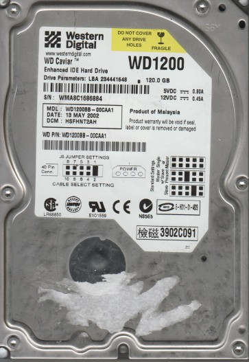 WD1200BB-00CAA1, DCM HSFHNT2AH, Western Digital 120GB SATA 3.5 Hard Drive