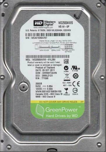 WD2500AVVS-61L2B0, DCM DHRNHT2AHN, Western Digital 250GB SATA 3.5 Hard Drive