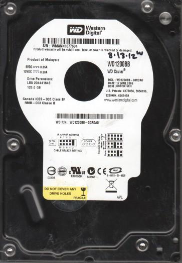 WD1200BB-00RDA0, DCM DSBHNTJCH, Western Digital 120GB IDE 3.5 Hard Drive