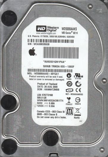 WD5000AAKS-40YGA1, DCM HANNHT2MBB, Western Digital 500GB SATA 3.5 Hard Drive