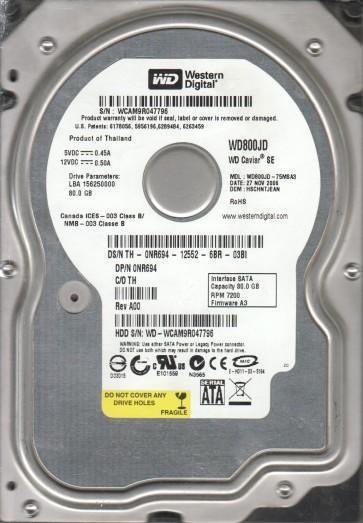 WD800JD-75MSA3, DCM HSCHNTJEAN, Western Digital 80GB SATA 3.5 Hard Drive